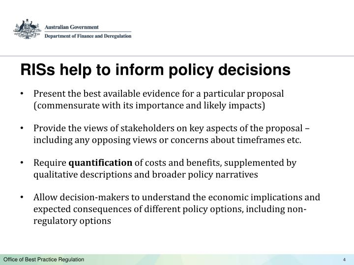 RISs help to inform policy decisions
