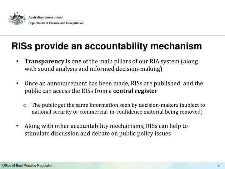RISs provide an accountability mechanism