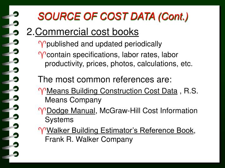 SOURCE OF COST DATA (Cont.)