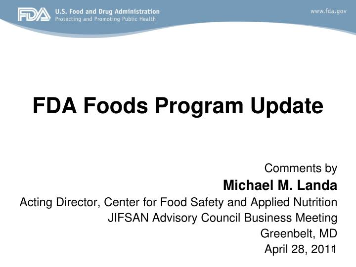 Fda foods program update