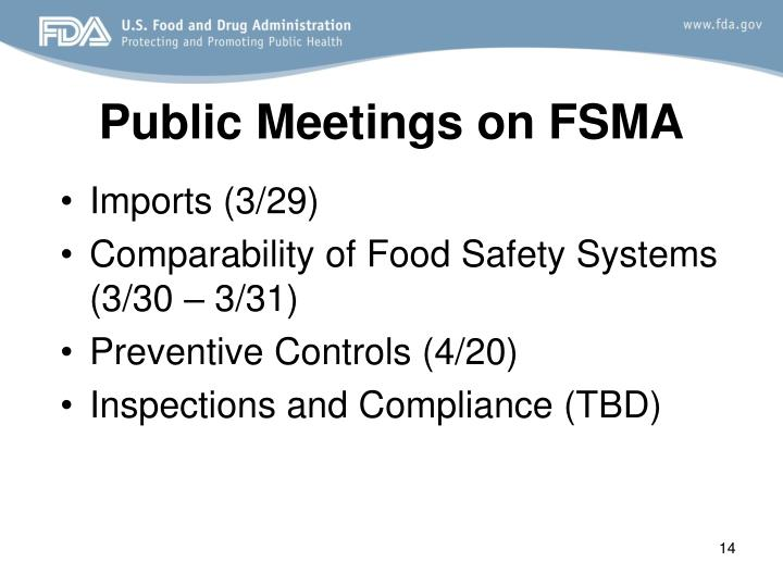 Public Meetings on FSMA
