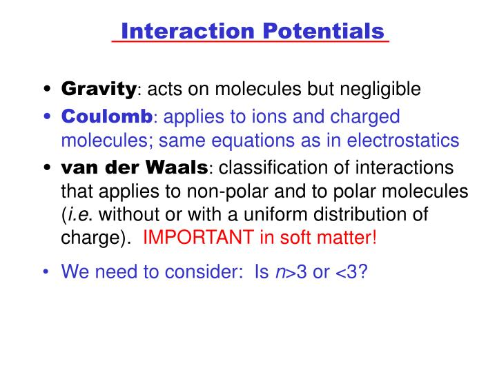 Interaction Potentials