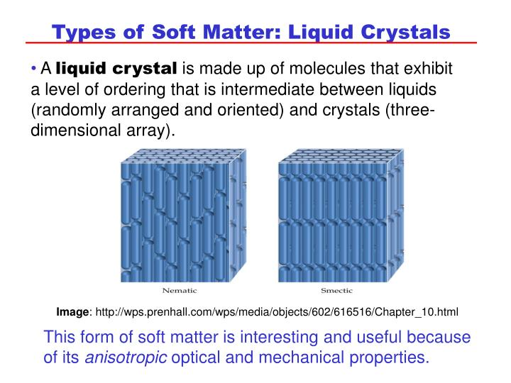 Types of Soft Matter: Liquid Crystals