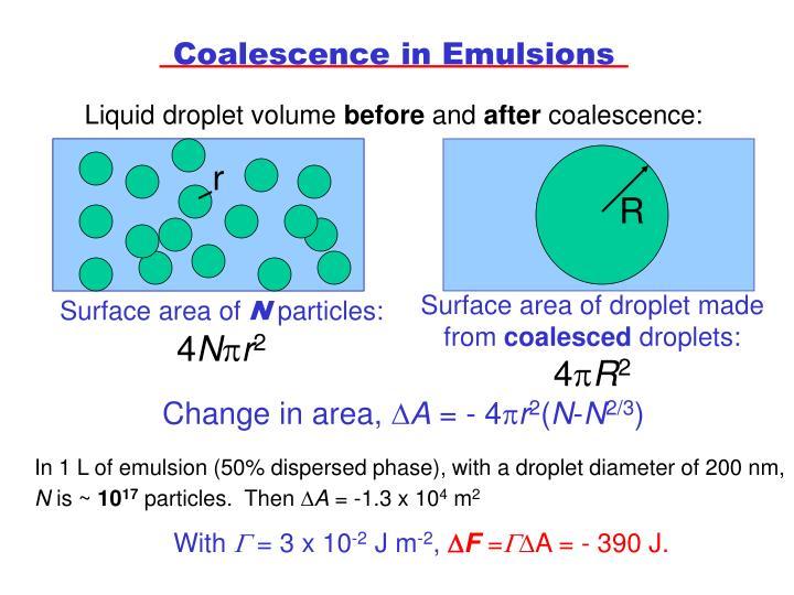 Coalescence in Emulsions