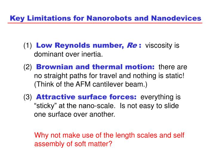Key Limitations for Nanorobots and Nanodevices