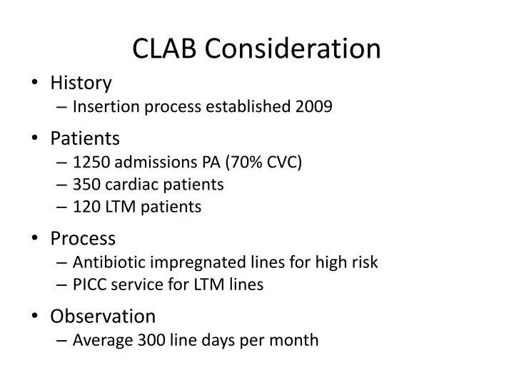 CLAB Consideration