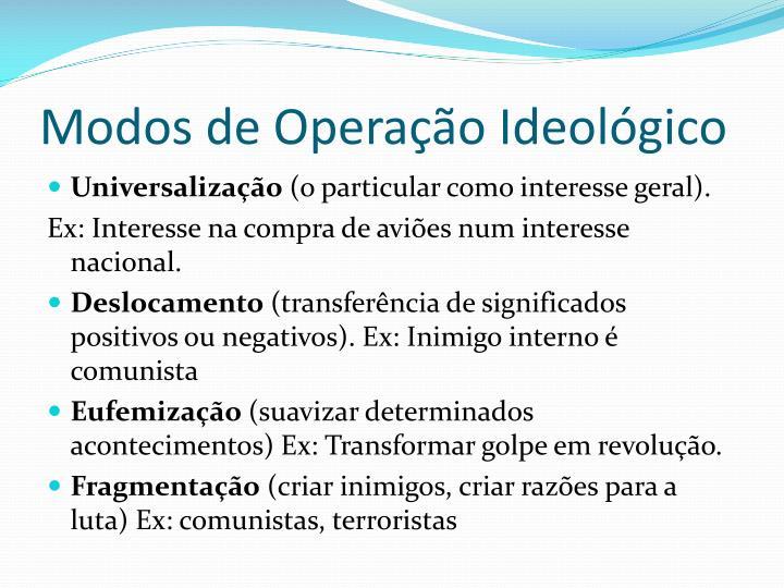 Modos de Operação Ideológico