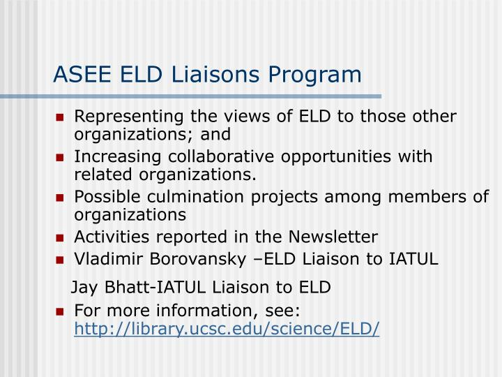 ASEE ELD Liaisons Program