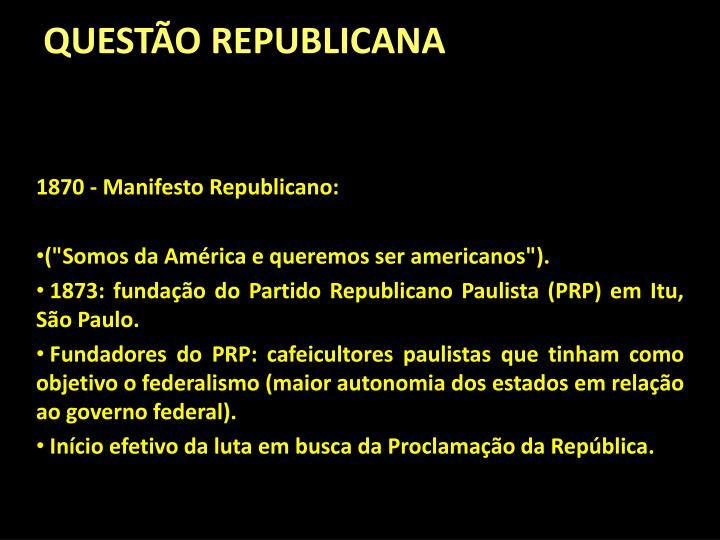 QUESTÃO REPUBLICANA