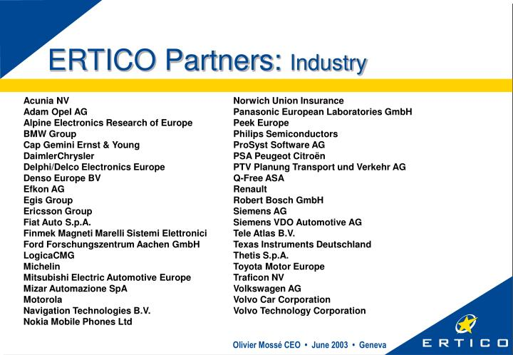 ERTICO Partners: