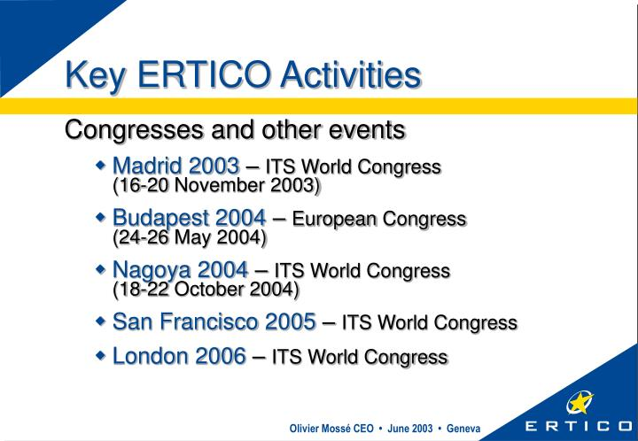 Key ERTICO Activities
