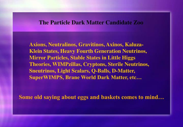 The Particle Dark Matter Candidate Zoo