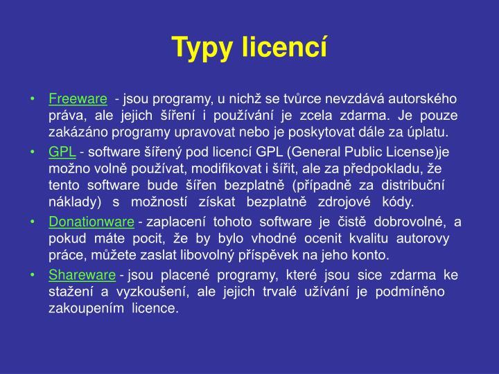 Typy licencí