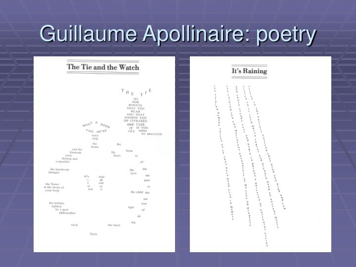 apollinaire essay and poetry Review: calligrammes by guillaume apollinaire books , calligrammes: poems of peace and war (1913 1916) by guillaume apollinaire grading rubric for narrative essays the last flight essentials of marketing 2nd canadian edition mackie 402 vlz3 manual.