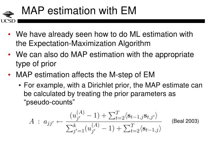 MAP estimation with EM