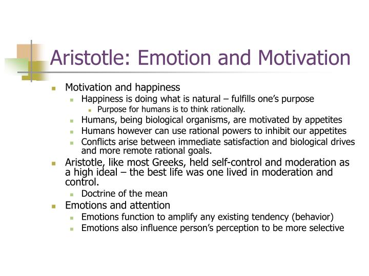 Aristotle: Emotion and Motivation