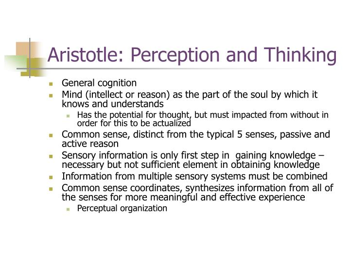Aristotle: Perception and Thinking