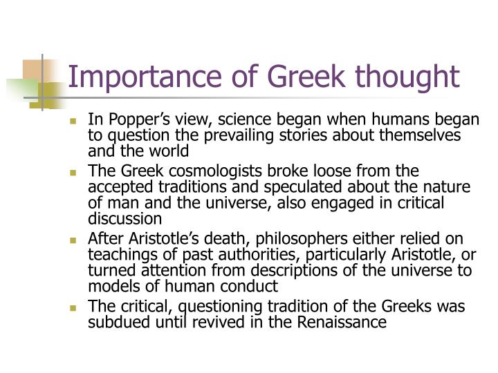 Importance of Greek thought