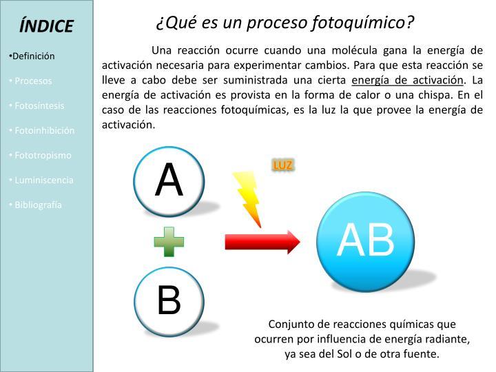 ¿Qué es un proceso fotoquímico?