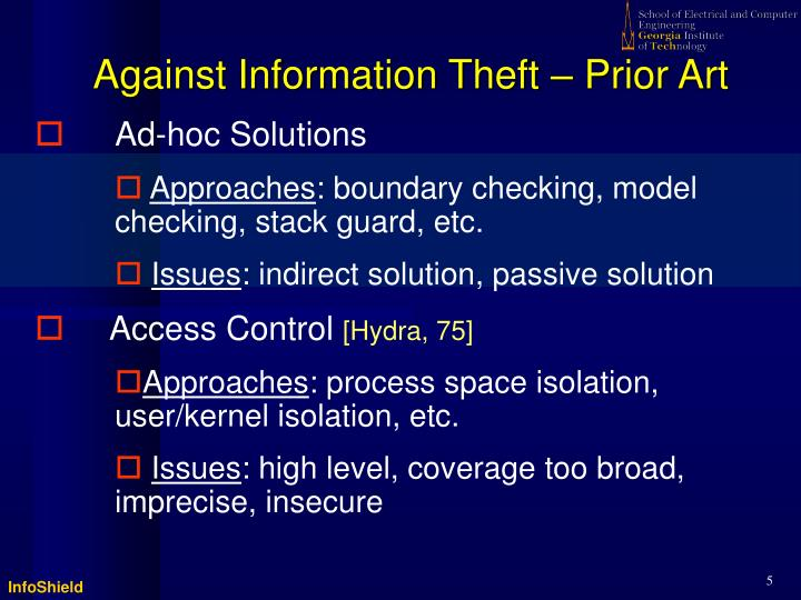 Against Information Theft – Prior Art