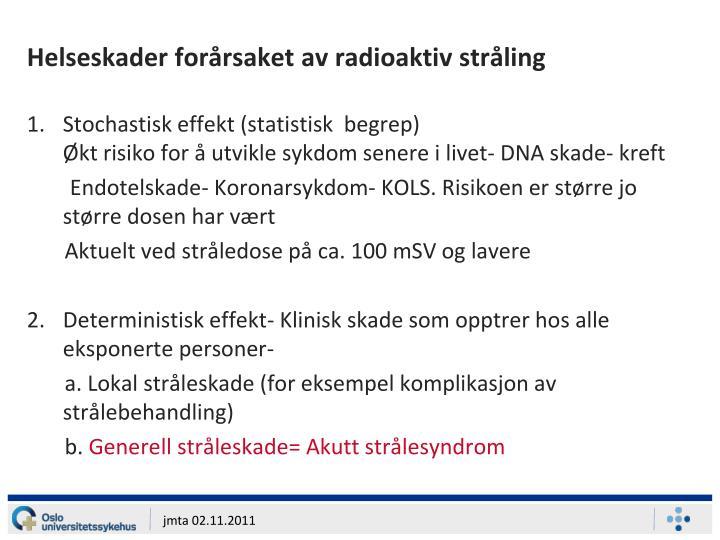 Helseskader forårsaket av radioaktiv stråling