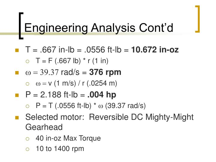Engineering Analysis Cont'd
