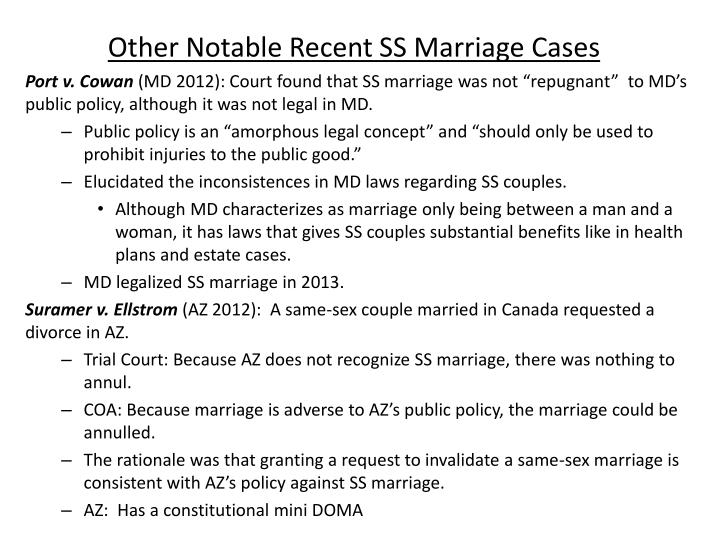Other Notable Recent SS Marriage Cases