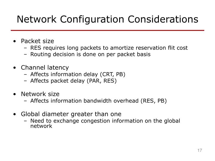 Network Configuration Considerations