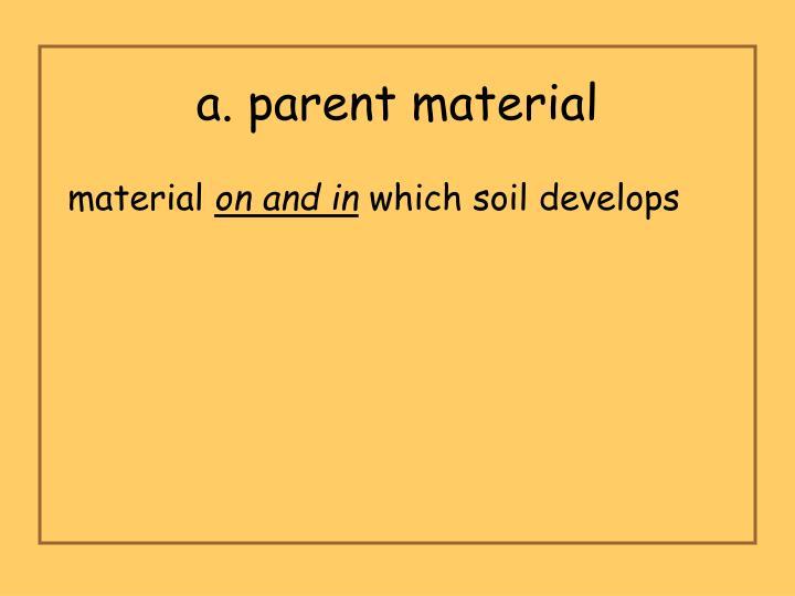 a. parent material