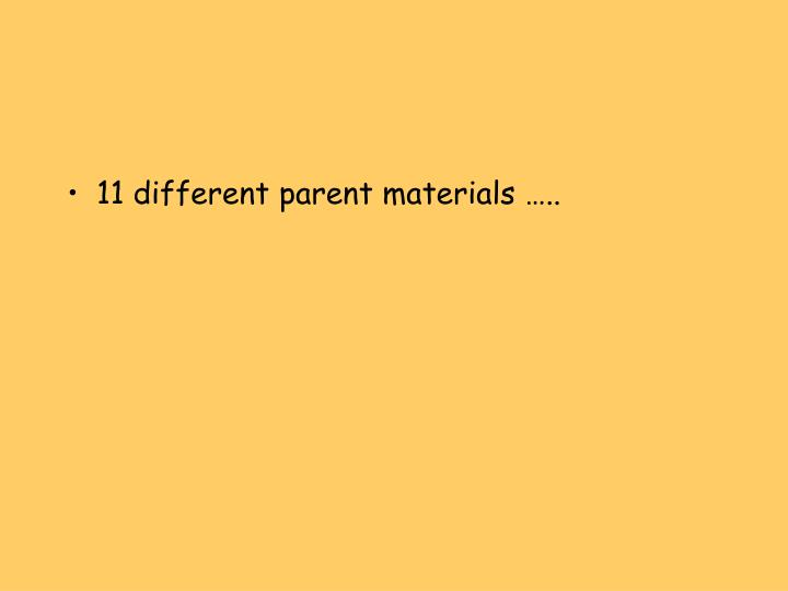 11 different parent materials …..