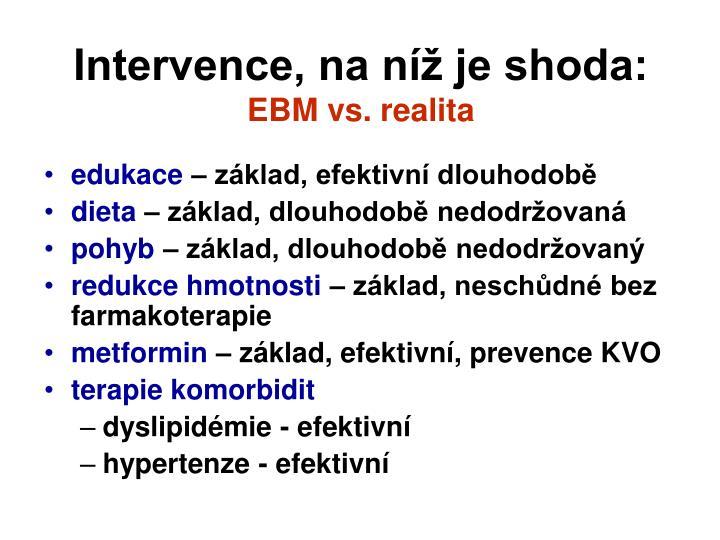 Intervence, na níž je shoda: