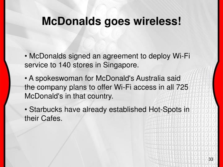 McDonalds goes wireless!