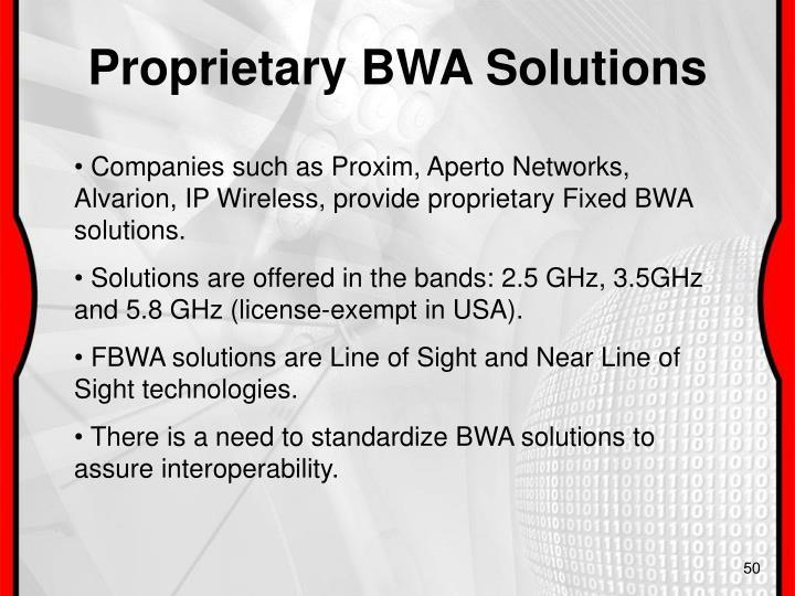 Proprietary BWA Solutions