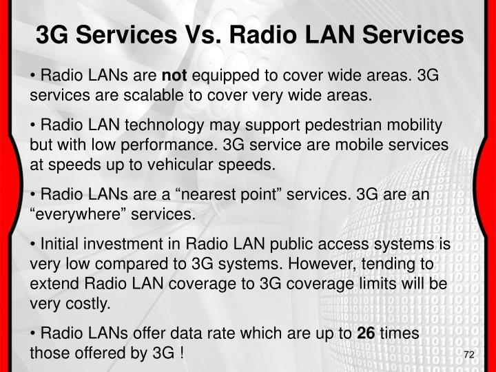 3G Services Vs. Radio LAN Services