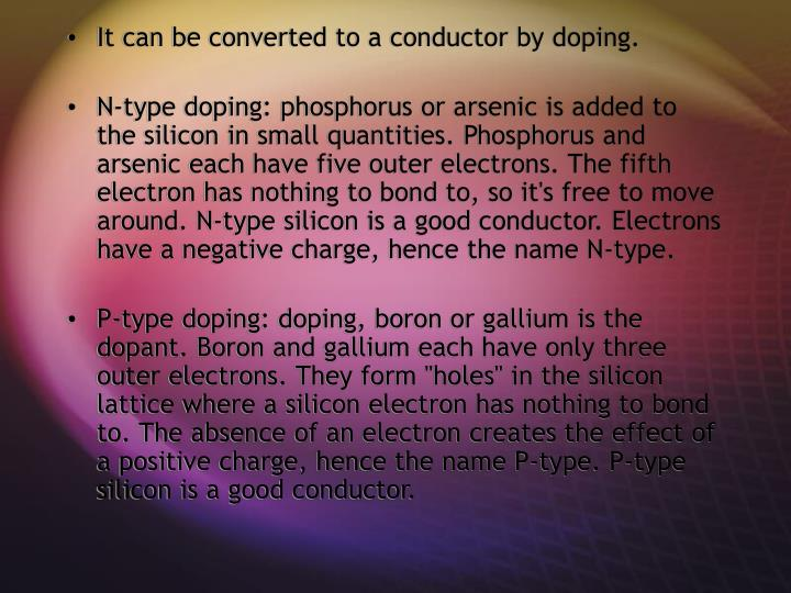It can be converted to a conductor by doping.