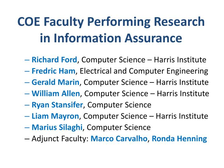 COE Faculty Performing Research in Information Assurance
