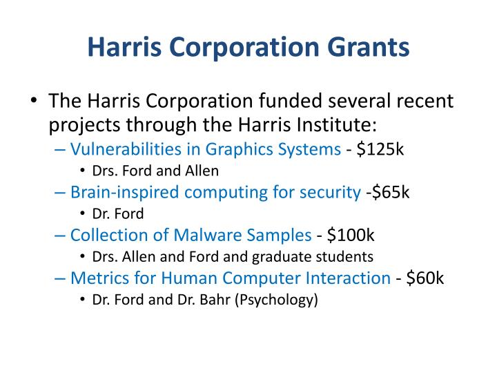 Harris Corporation Grants