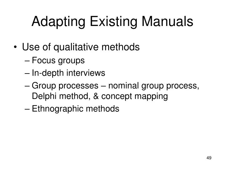 Adapting Existing Manuals