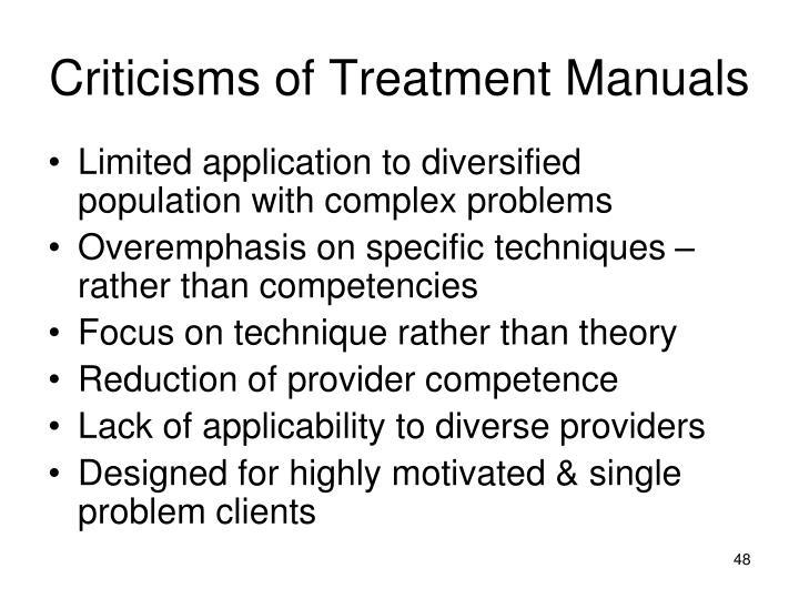 Criticisms of Treatment Manuals