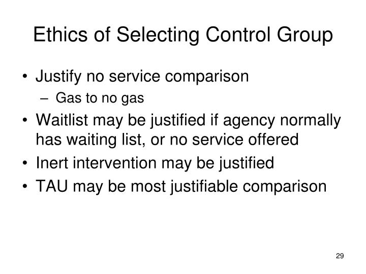 Ethics of Selecting Control Group
