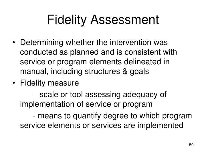 Fidelity Assessment