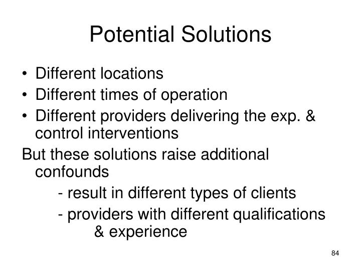 Potential Solutions