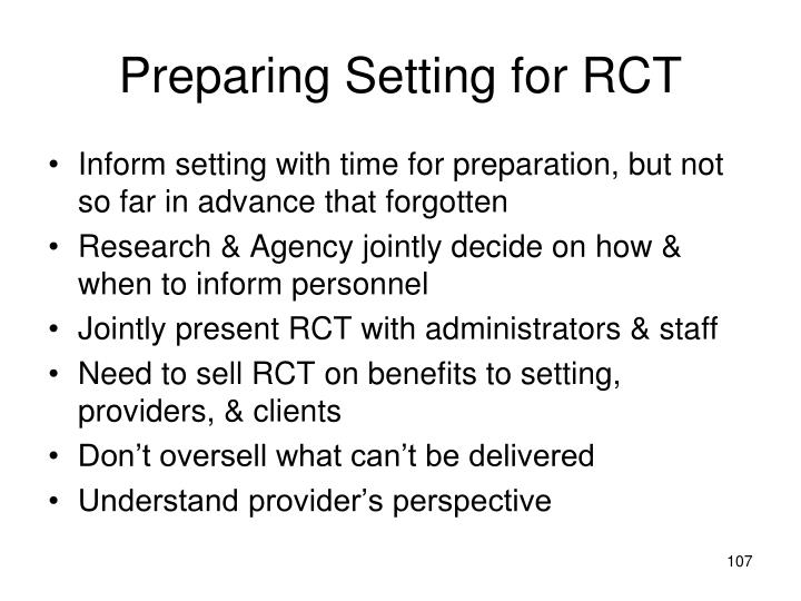 Preparing Setting for RCT