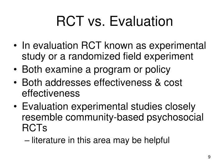 RCT vs. Evaluation