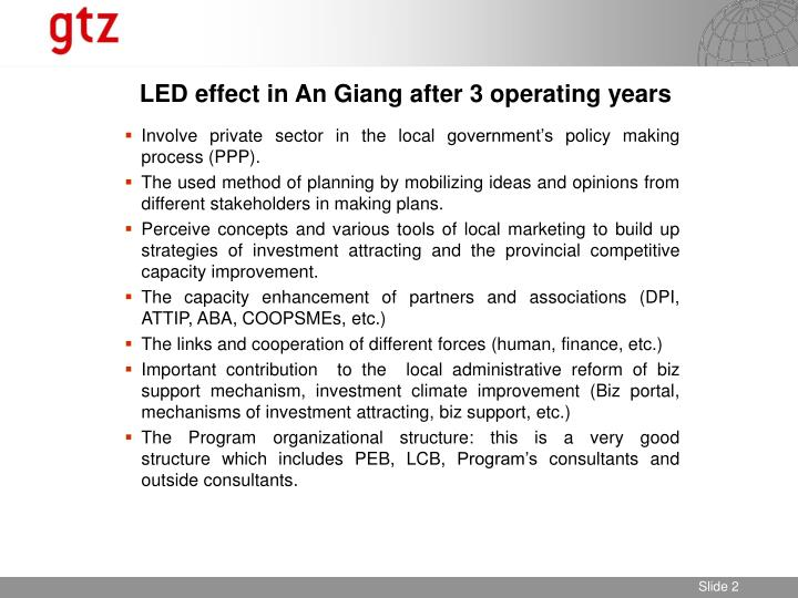 Led effect in an giang after 3 operating years