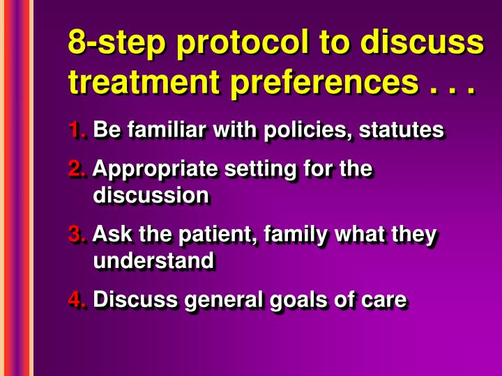 8-step protocol to discuss treatment preferences . . .
