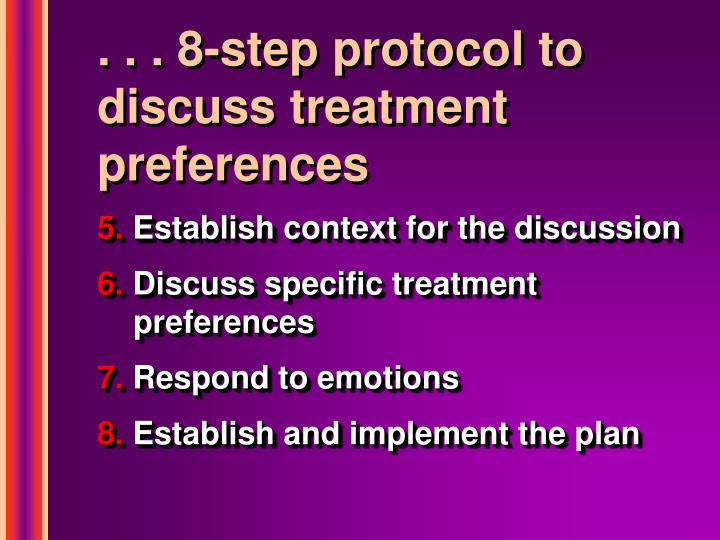 . . . 8-step protocol to discuss treatment preferences