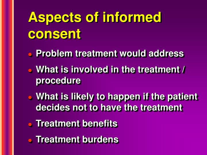 Aspects of informed consent