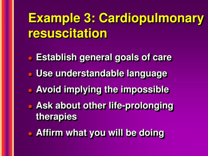 Example 3: Cardiopulmonary resuscitation