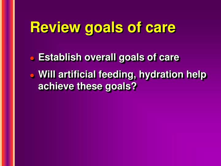 Review goals of care